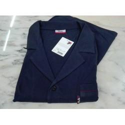 Fila Pigiama lungo uomo 100% cotone jersey aperto bottoni classico blu