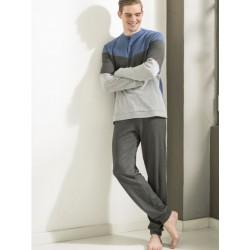 Ragno Uomo Pigiama inverno manica pantalone lungo serafino 100% cotone