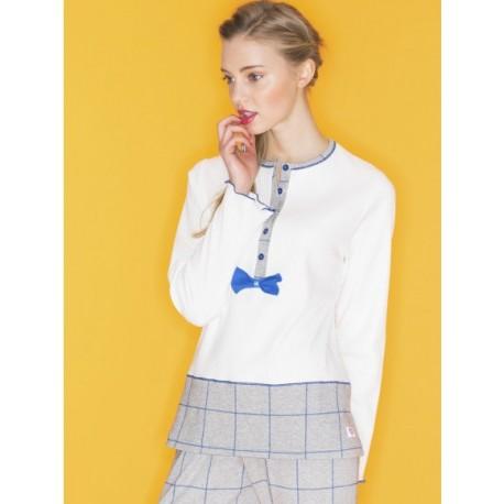 Ragno Woman Winter pajamas interlock cotton blend with a granddad collar