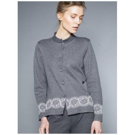 Ragno Donna Pigiama inverno bottoni manica pantalone lungo misto cotone