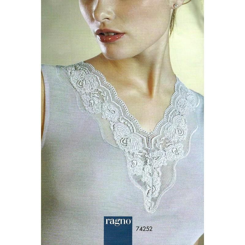 moda firmata 3666e 810e9 Ragno Donna Maglia intima spalla larga pizzo Lana Seta - Paola Fiorini