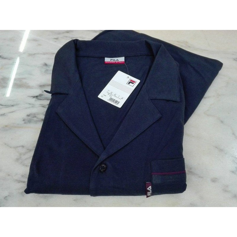 nuovo stile fd7c5 c5ced Fila Pigiama lungo uomo 100% cotone jersey aperto bottoni classico blu -  Paola Fiorini