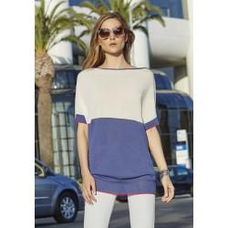 Oroblu Maryam maglia maglietta mezza manica corta scollo barca righe viscosa