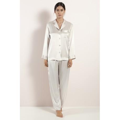 #50 Luna Di Seta rayures pyjama de soie-satin l6j7544-0177 Avorio-Ivory