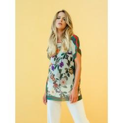 Boglietti Gandia Poncho maglietta girocollo donna manica corta fantasia floreale