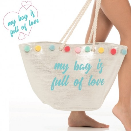 Milk and Honey borsa da mare spiaggia argento oro