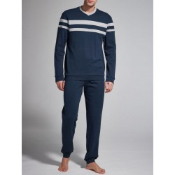 Ragno Man pajamas winter long sleeve pants V neck cotton