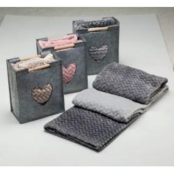 Milk and Honey microfleece blanket plaid with felt holder