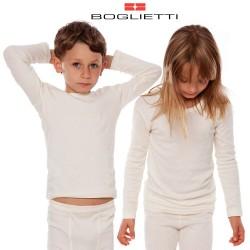 Boglietti Maglia intima bambino unisex canottiera manica lunga lana cotone