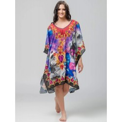 Printed woman kaftan with blue details