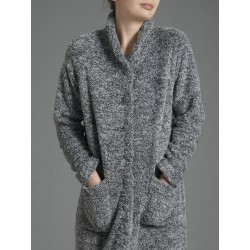 Ragno Donna Teddy bear fabric dressing gown with buttons